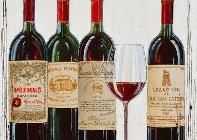 Tableau des bouteilles de vins grands bordelais