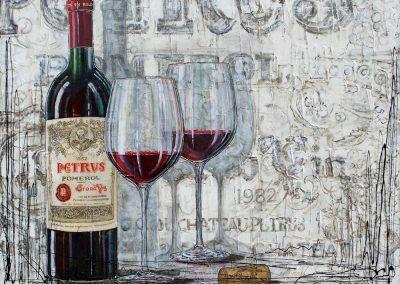 Tableau grand vin de bordeaux - Petrus Pomerol avec fond en étiquette