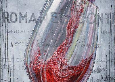 Tableau de Romanée Conti - bouteille de vin qui rempli un verre