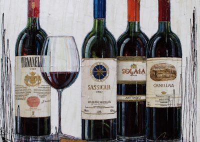 Tableau de bouteilles de vins - Les meilleurs domaines toscans