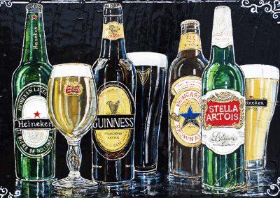Tableau fond noir - Bouteille de bières - Heineken - Stella Artois - Guinness - Newcastel