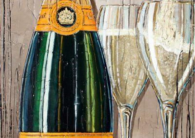 Tableau bouteille de champagne Veuve Clicquot avec deux coupes