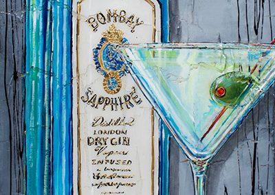 Bouteille de Gin Bombay Sapphire avec drink