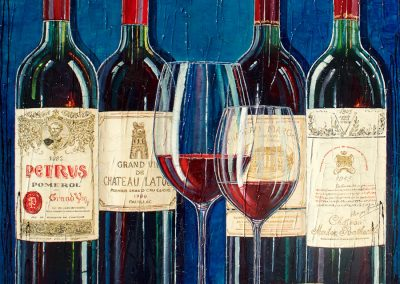 Bouteilles de grands vins bordelais à déguster avec modération