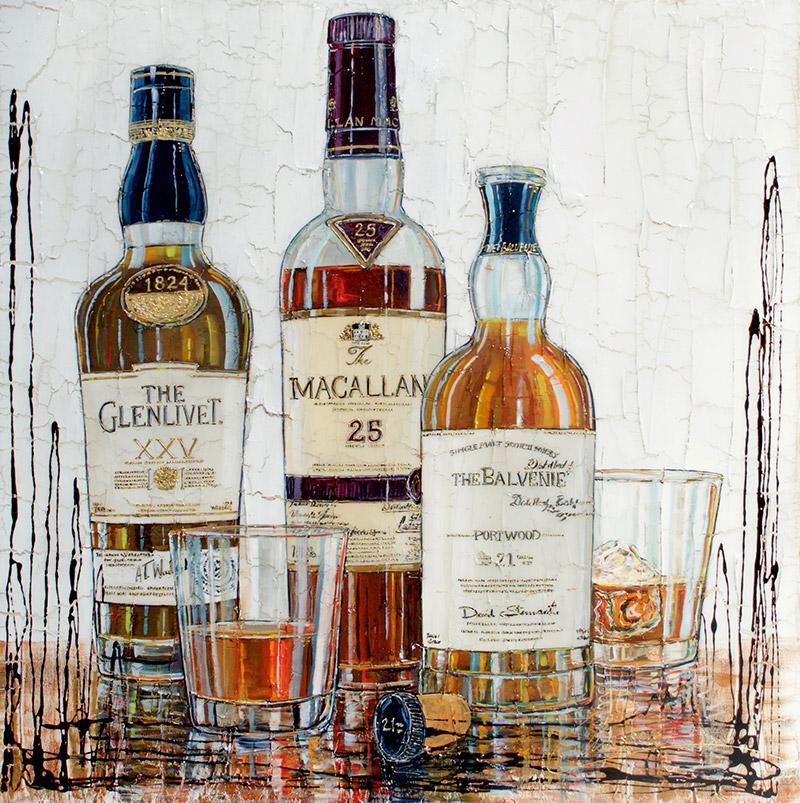 Tableau de bouteilles de whiskies - The Glenlivet - Macallan - The Balvenie