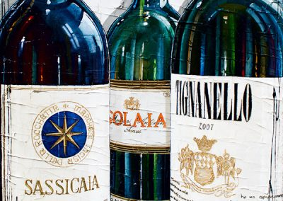Gros plan sur des bouteilles de vins Toscans