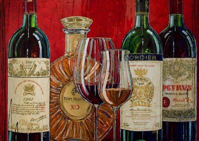bouteilles de vins rouge et Remy Martin XO