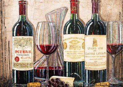 Bouteilles de grands vins luxueux