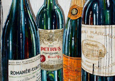 Gros plan sur bouteilles de vin et champagne