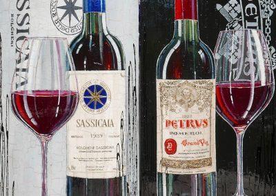 Deux tableaux fond noir et fond gris avec bouteilles de vin et verre