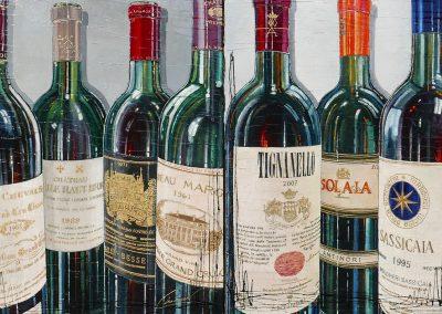 Zoom sur des bouteilles de renom - vins français et vins italien