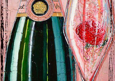 Bouteille de champagne rosé Veuve Clicquot avec des fraises