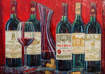 5 bouteilles de grands vins rouge