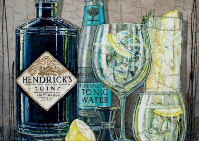 Bouteille de Gin Hendrick's avec tonic et citron