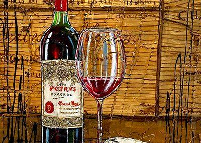 Bouteille de vin rouge Pétrus avec caisse de bois