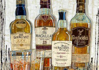 Quatre bouteilles de whisky renommées
