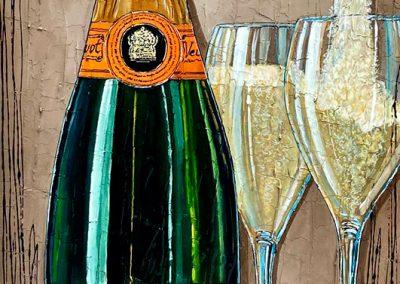 Bouteille de champagne Veuve-Clicquot et deux flûtes de champagne
