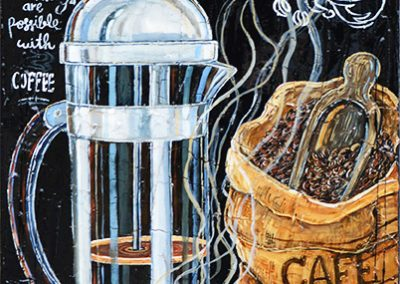 Cafetière italienne pour café expresso avec sac de graines de café et tasse à café fumante