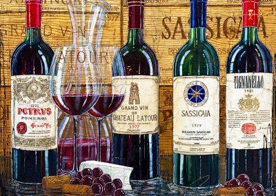 Grands vins rouges français et italien avec caisse de bois