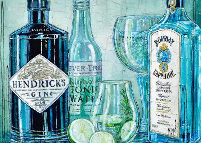 Bouteilles de Gin Hendricks et gin Bombay avec tonic water