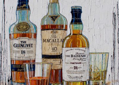 Bouteilles de whiskies The Glenlivet, Macallan, The Balvenie