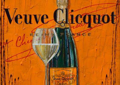 Bouteille de champagne Veuve Clicquot avec sa coupe de champagne