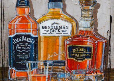 Trois grandes bouteilles de Jack Daniel's