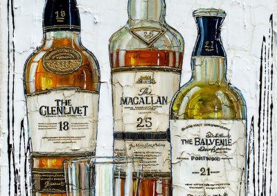 Trois bouteilles de vieux scotchs et de grandes marques reconnues