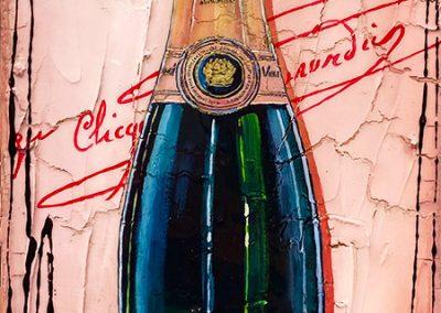 Bouteille de champagne rosé Veuve Clicquot avec signature