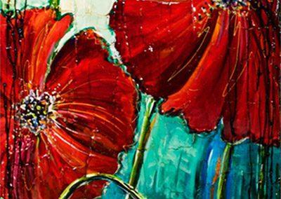 Quatre grandes fleurs de pavot