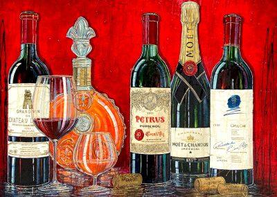 Bouteilles de vin français, bouteille de champagne Moët et Chandon, bouteille de cognac Remy Martin
