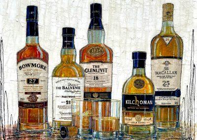 Cinq grandes bouteilles de scotch whisky de grandes renommés