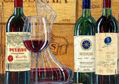 Trois grandes bouteilles de vin prestigieuse
