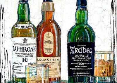 Trois grandes bouteilles de Islay Single Malt Scotch Whisky