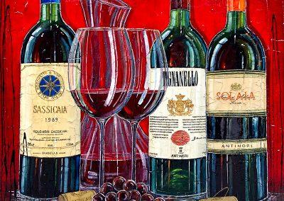 Bouteilles de grands vins Toscan avec une carafe et deux verres