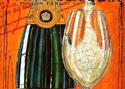Bouteille de Veuve Clicquot avec une flûte à champagne et marquage signature