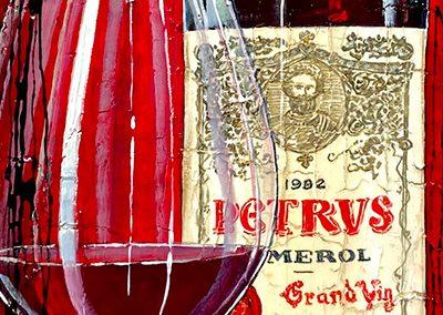 Toile d'une bouteille de Pétrus avec son verre sur fond rouge et marquage contemporain