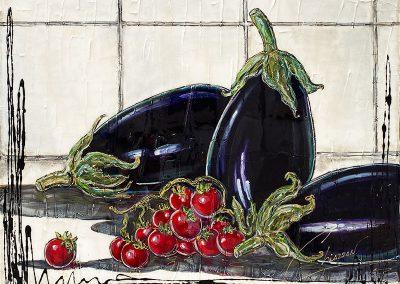 Trois poivrons et quelques tomates cerises